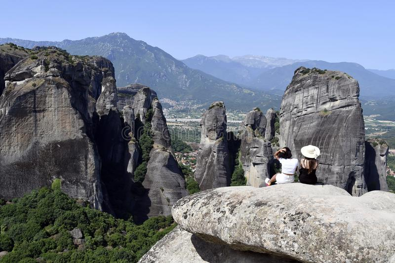 Greece, Meteora, woman on sightseeing royalty free stock photography