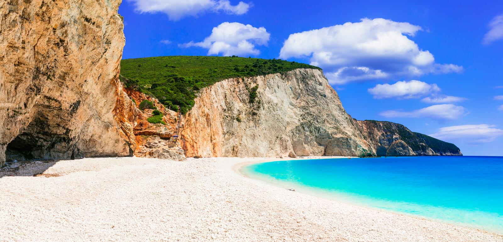Greece. Most beautiful beaches. Porto Katsiki in Lefkada island. Beautiful Porto Katsiki beach,Lefkada island,Greece stock image