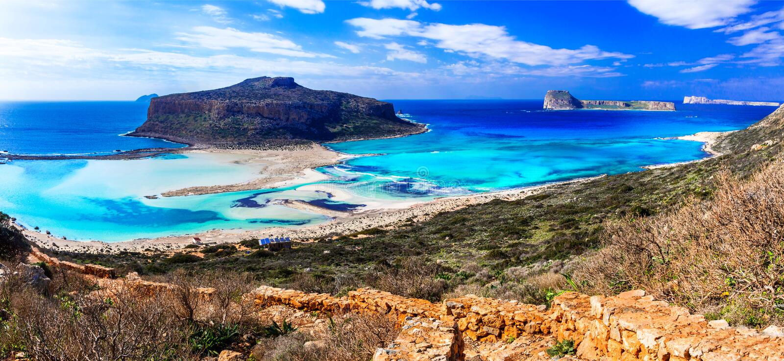 Greece - most beautiful beaches series - Balos bay in Crete island. Panoramic view of Balos bay,Crete island,Greece royalty free stock photos