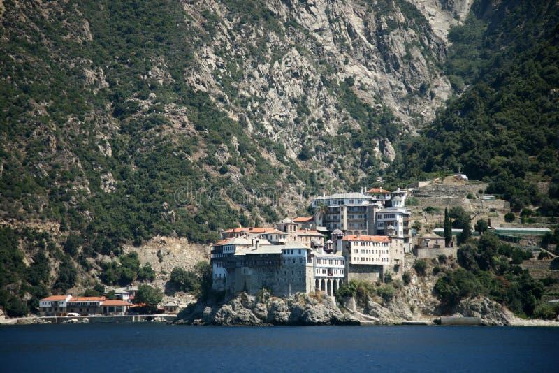 Greece mountain landscape. Greece. Mangnificent mountain landscape. Peninsula Athos. Cloister royalty free stock image