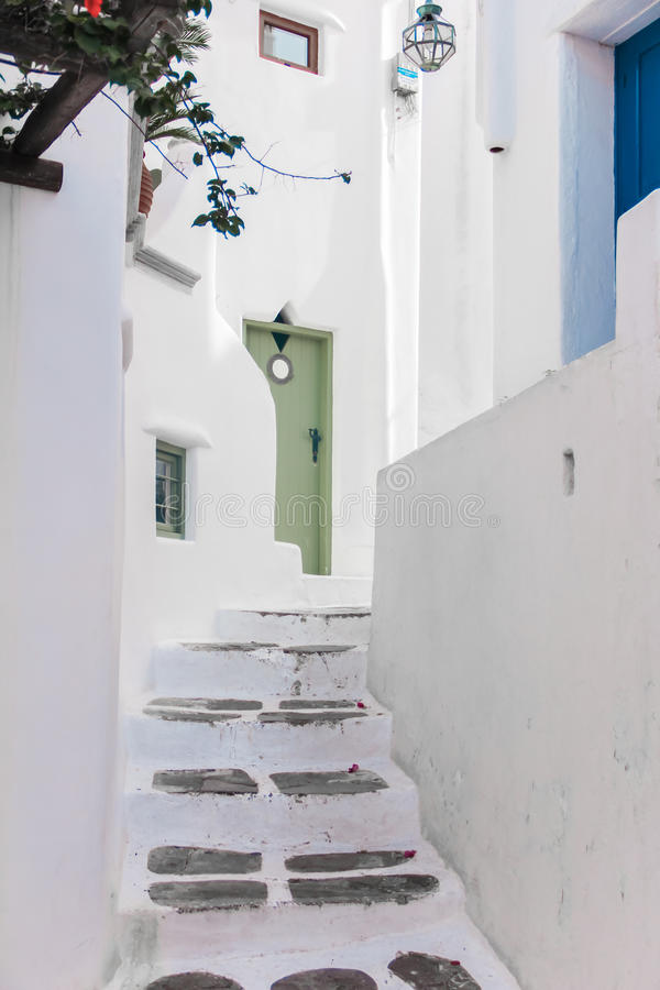 Greece Mykonos narrow walk path in main capitol. Greece Mykonos narrow stair walk path in main capitol stock photography