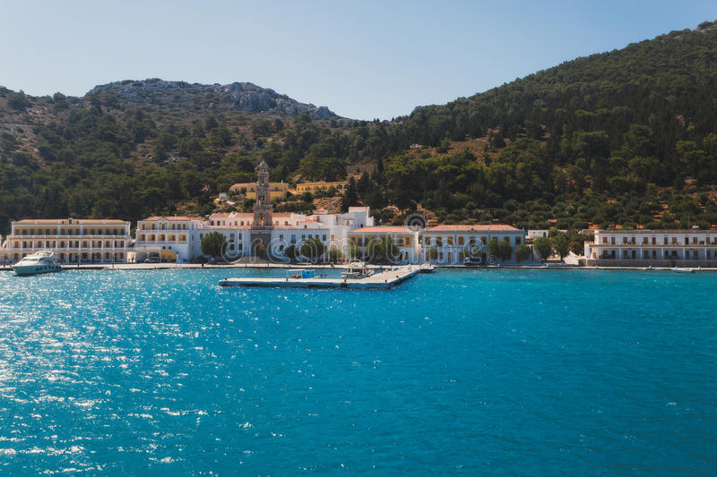 Greece. Panormitis. The monastery and the promenade royalty free stock photos