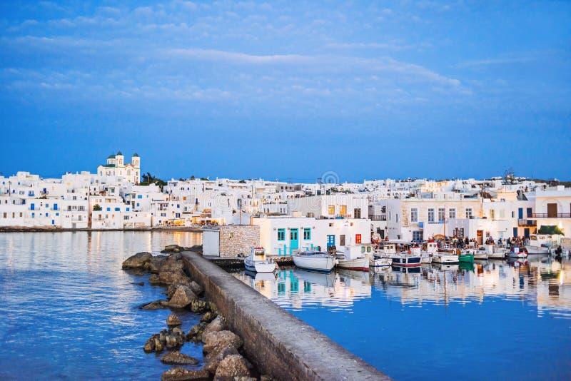 Greece, Paros island, Naoussa, Greek fishing village. Popular tourist destination in Europe. stock image