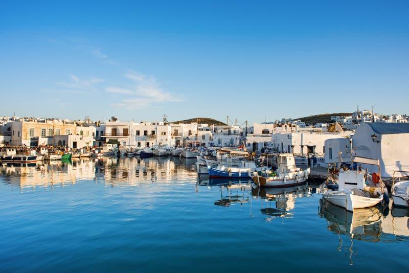 Naoussa, Greek fishing village in Paros island, Greece. Popular tourist destination in Europe. Greece, Paros island, Naoussa, Greek fishing village. Popular royalty free stock photography