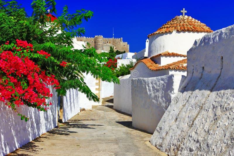 Greece.Patmos海岛。 免版税图库摄影