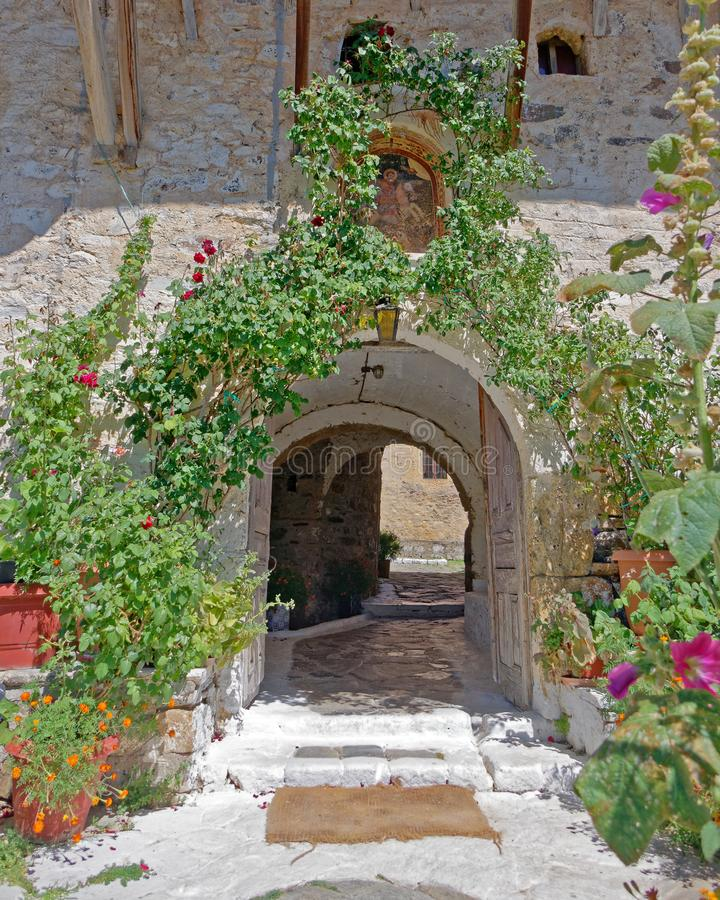 Greece Peloponnese, St. George orthodox monastery entrance royalty free stock images