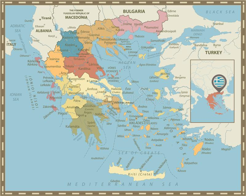 Greece Political Map Vintage Colors Stock Vector Illustration of
