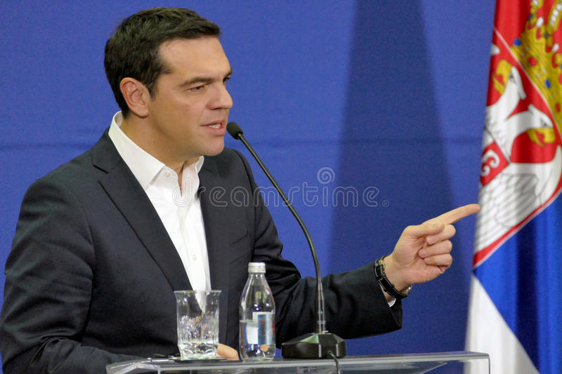 Greece Prime Minister Alexis Tsipras and Serbian Prime Minister Aleksandar Vucic holds a joint press conference. Belgrade, Serbia. January 31st - Greece Prime stock images