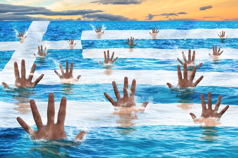 Greece rescue. Concept, men sinking in the sea reaching for help. Business concept of failure, debit, bankruptcy, financial emergency and default stock image