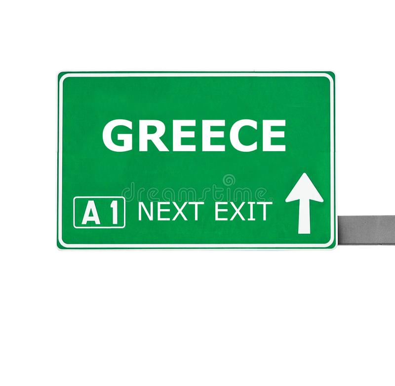GREECE road sign isolated on white stock photos