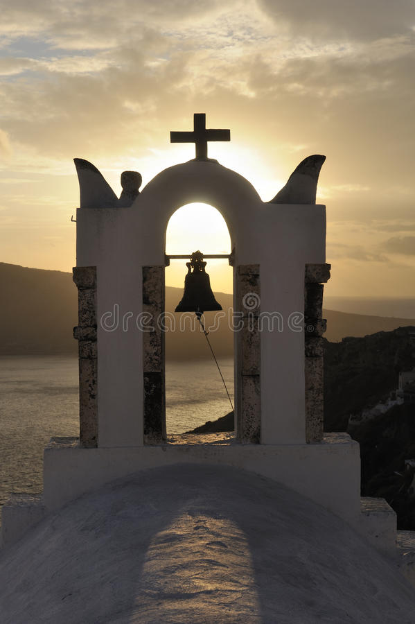 Greece. Santorini island. Oia village. Church bell stock photography