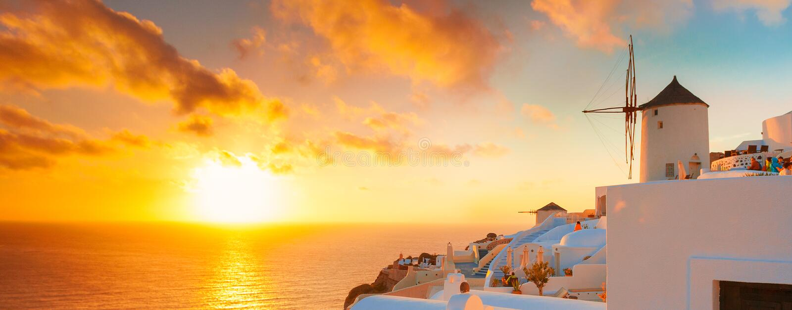 Greece. Santorini, Greece. Santorini was named by the Latin Empire in the thirteenth century, and is a reference to Saint Irene, from the name of the old royalty free stock images