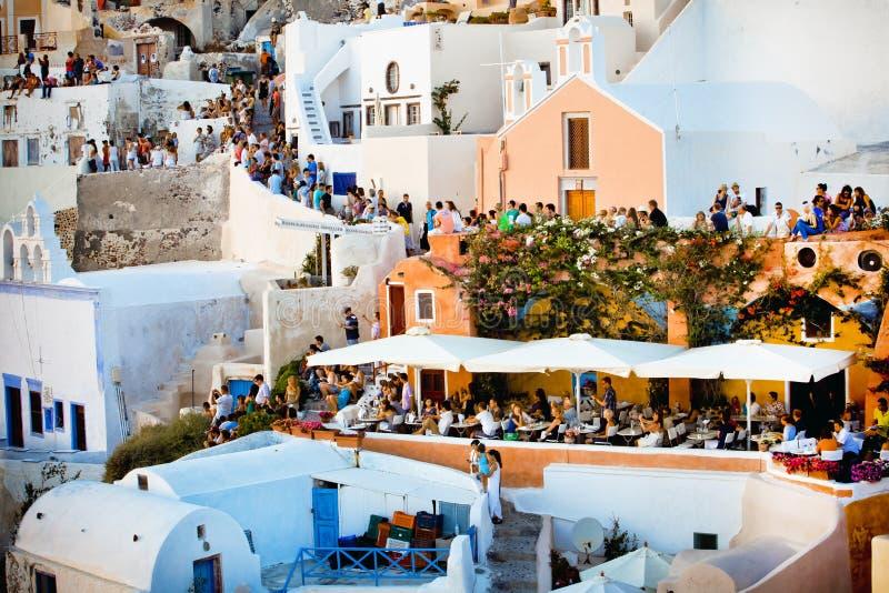 greece santorini zmierzchu czekanie zdjęcia stock