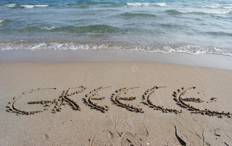 Greece sculpted at the beach stock image