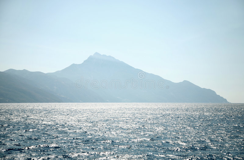 Greece sea landscape. Greece. Mangnificent sea landscape. Saint mountain Athos stock photo