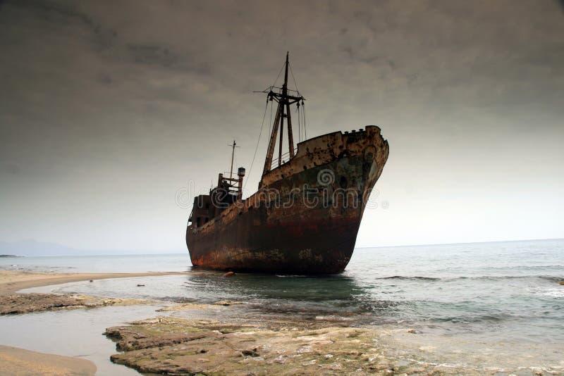 greece skeppsbrott royaltyfria bilder