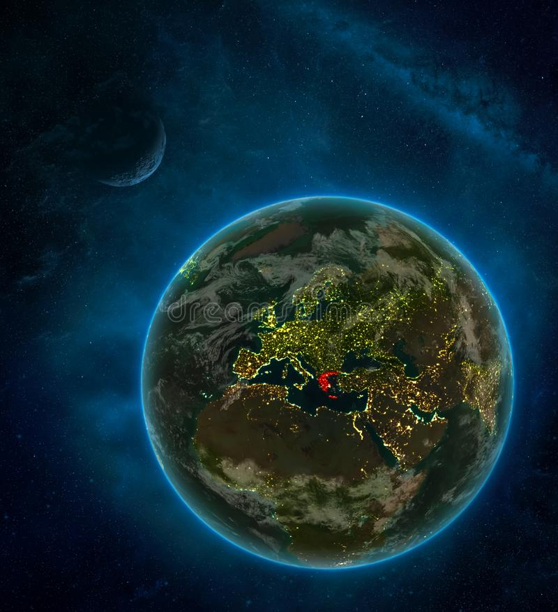 Greece from space on Earth at night surrounded by space with Moon and Milky Way. Detailed planet with city lights and clouds. 3D. Illustration. Elements of this stock illustration
