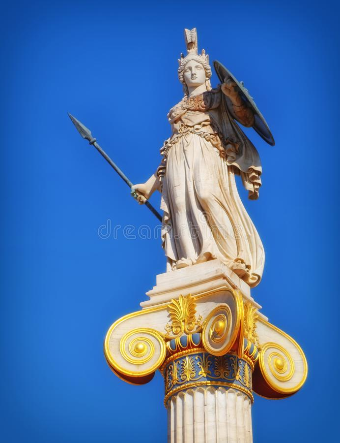 Greece, statue of Athena the ancient goddess of wisdom and knowledge royalty free stock images