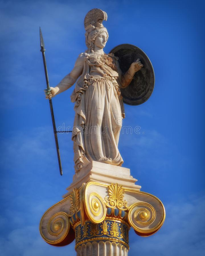 Greece, statue of Athena the ancient goddess of wisdom and knowledge stock photography