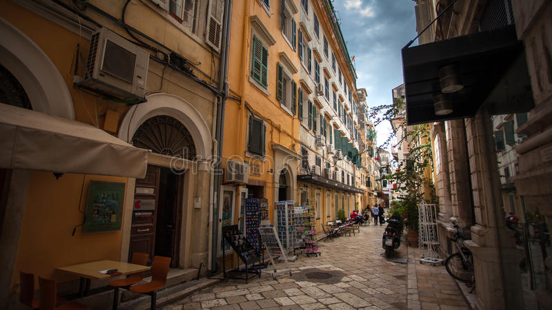 Greece street Corfu Old Town royalty free stock photo