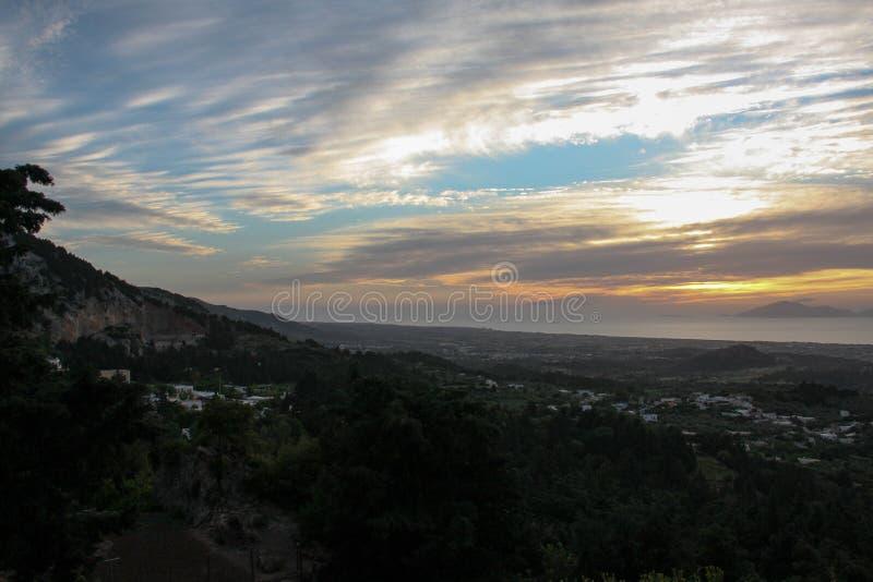 Greece sunset. Sunset on Kos island, Greece from Zia village stock photo