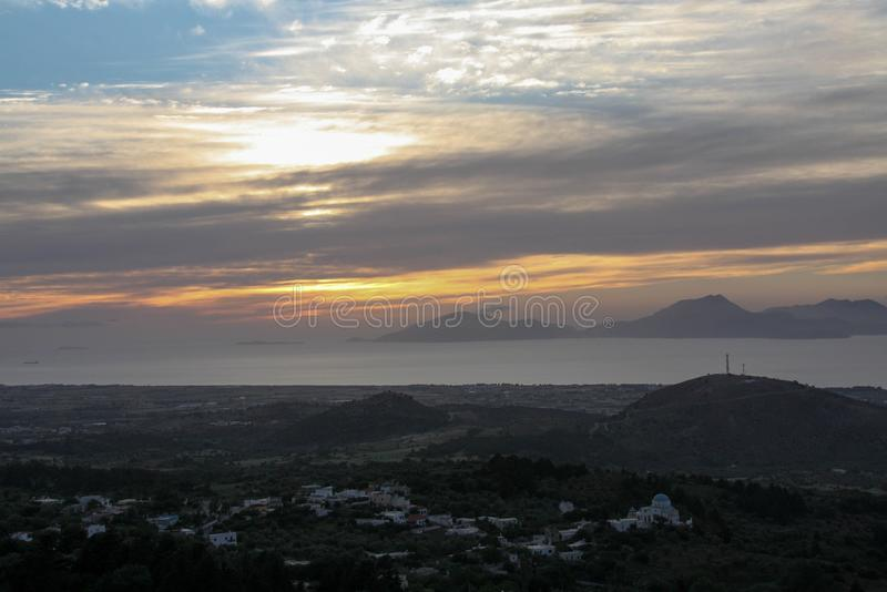 Greece sunset. Sunset on Kos island, Greece from Zia village royalty free stock photos