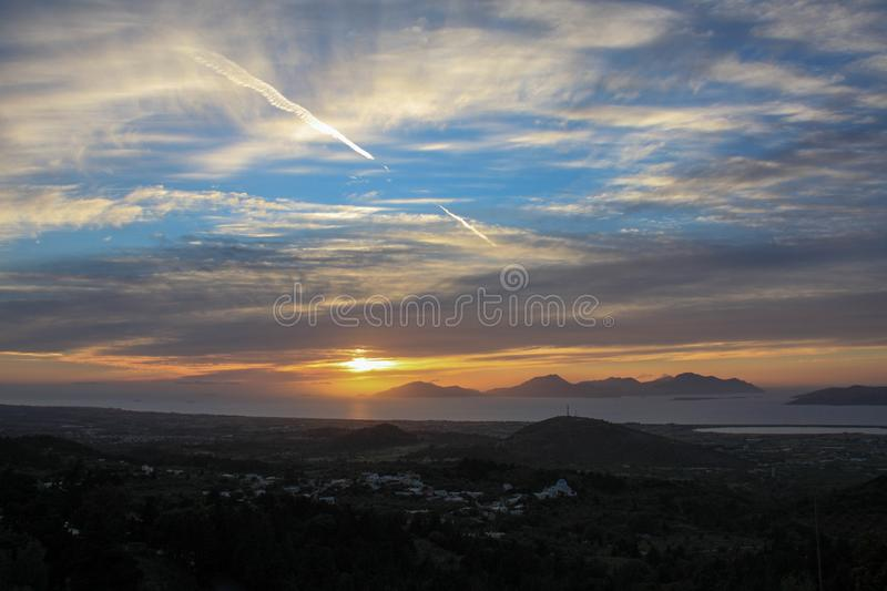Greece sunset. Sunset on Kos island, Greece from Zia village royalty free stock images