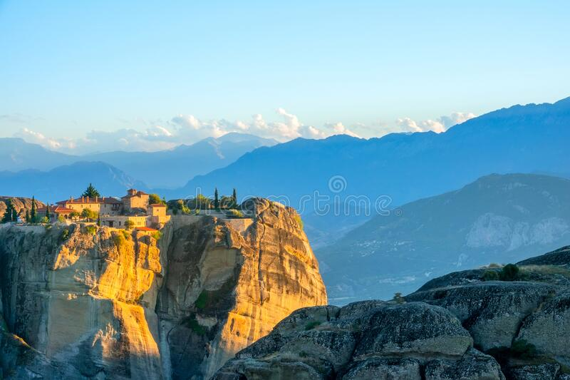 Sunset in the Summer Mountains and Rocky Monastery royalty free stock images