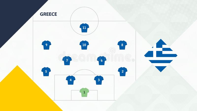 Greece team preferred system formation 4-2-3-1, Greece football team background for European soccer competition.  vector illustration