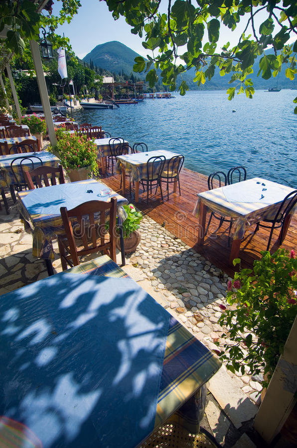 Greece - terrace by the sea stock photo
