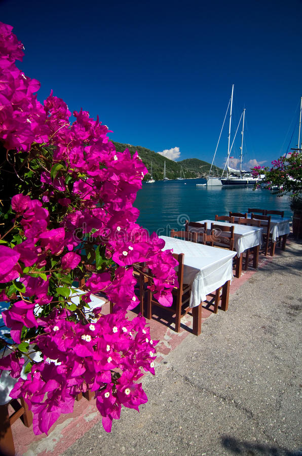 Greece - terrace by the sea royalty free stock photography