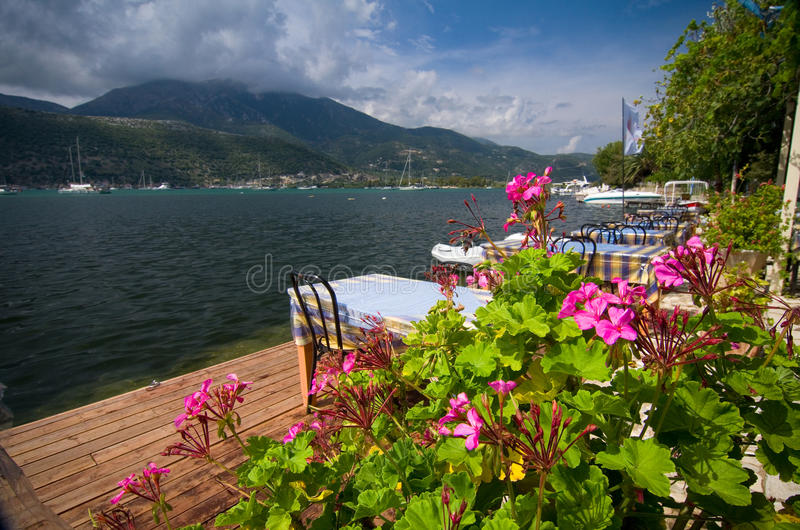 Greece - terrace by the sea stock images