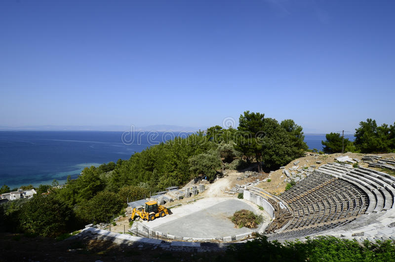 Greece, Thassos. Greece, the small ancient theater on Thassos island stock photography