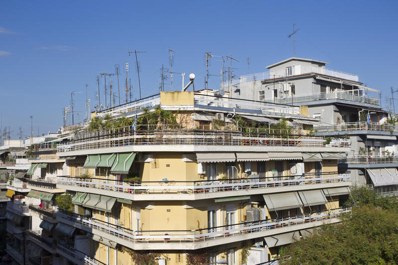 Greece Thessaloniki Apartment View stock images