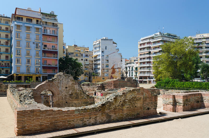 Greece, Thessaloniki. The ruins of the palace of the Roman Emperor Galerius (III c.) royalty free stock images