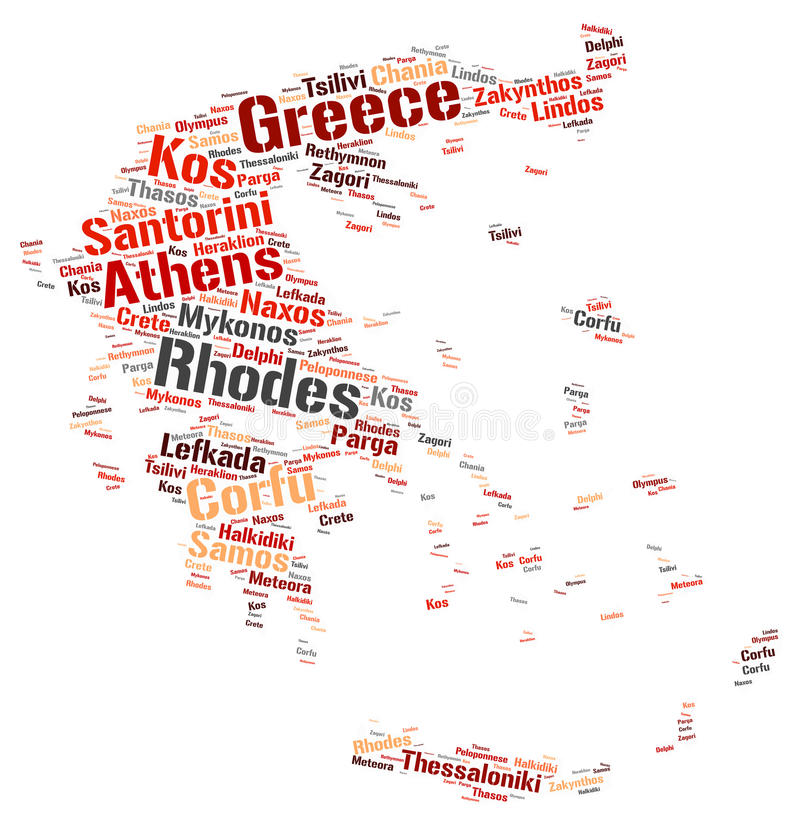 Greece top travel destinations word cloud. Greece map silhouette word cloud with most popular travel destinations vector illustration