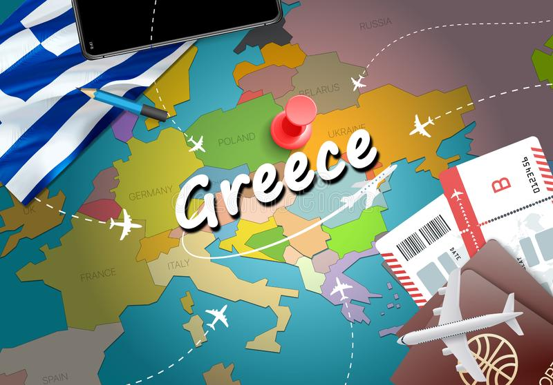 Greece travel concept map background with planes, tickets. Visit vector illustration