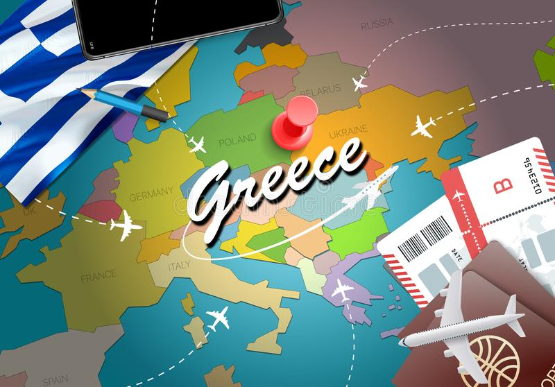 Greece travel concept map background with planes, tickets. Visit stock illustration