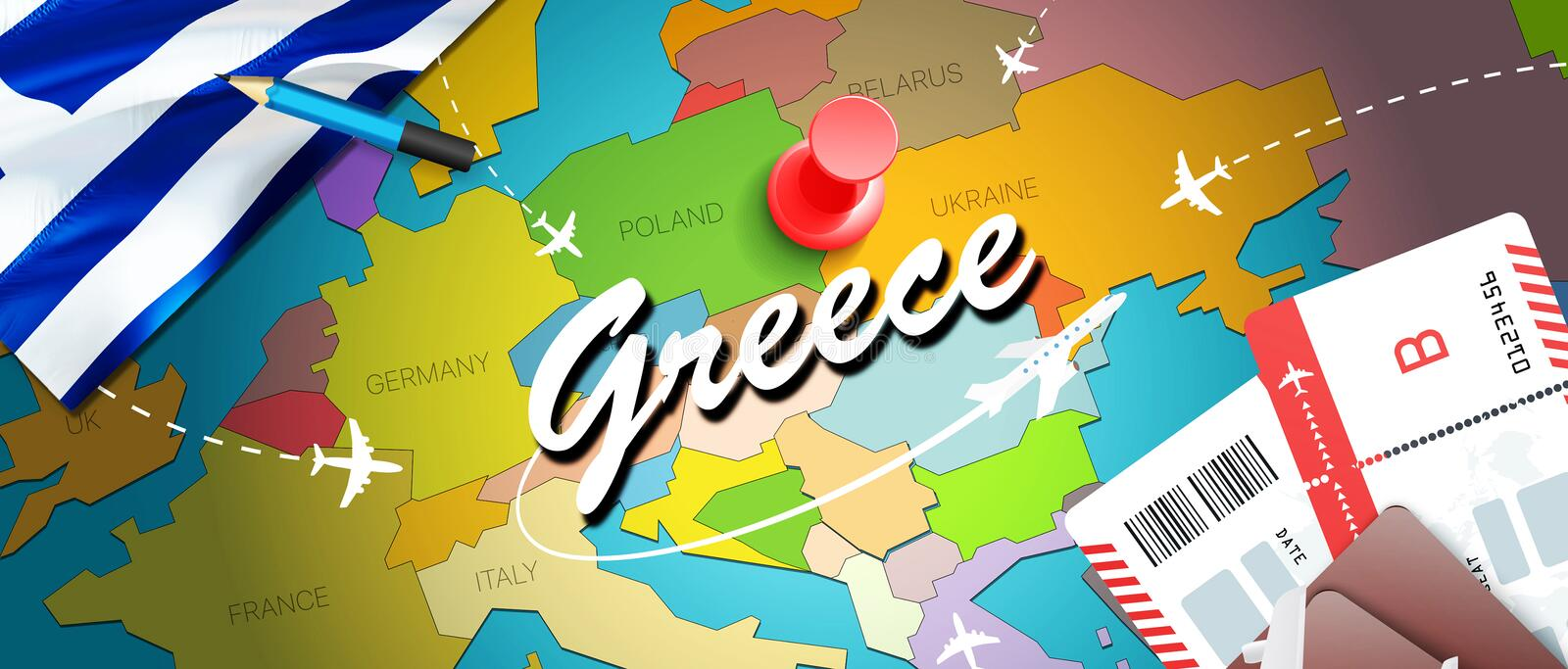 Greece travel concept map background with planes, tickets. Visit Greece travel and tourism destination concept. Greece flag on map royalty free illustration