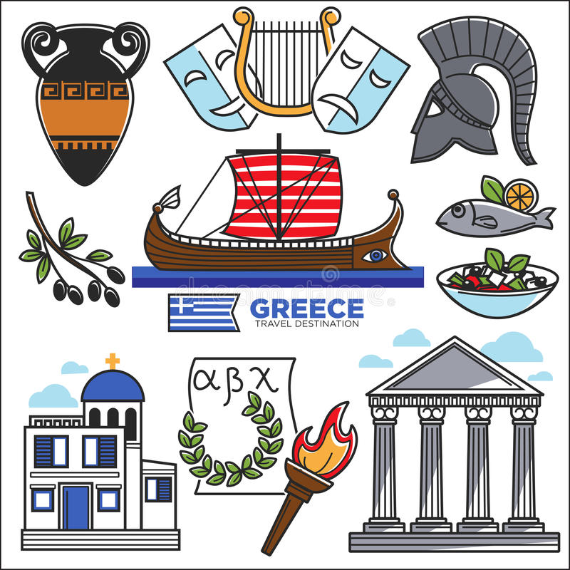 Greece travel and culture landmarks sightseeing vector icons. Greece travel and culture famous sightseeing landmarks and attractions icons. Vector set of of vector illustration