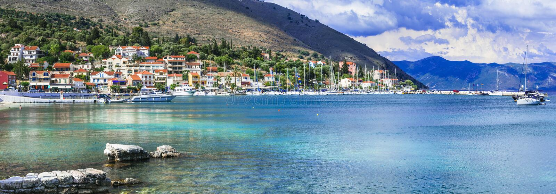 Greece travel - picturesque coastal village Agia Efimia un Kefalonia, Ionian islands royalty free stock photo