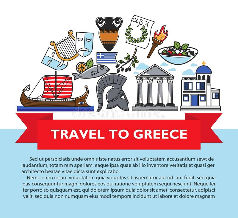 Greece travel poster of Greek culture famous sightseeing landmarks and attractions icons. Vector design of Greece flag, Athens Pantheon acropolis, Spartan vector illustration