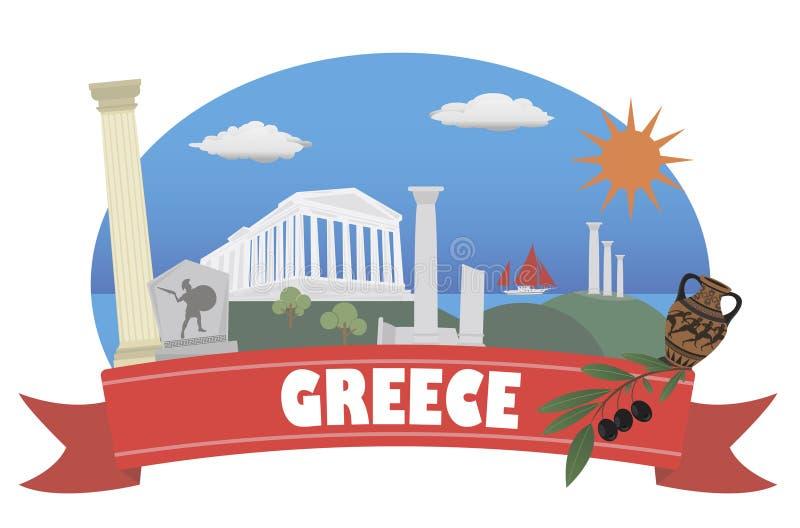 Greece Turismo e curso ilustração stock