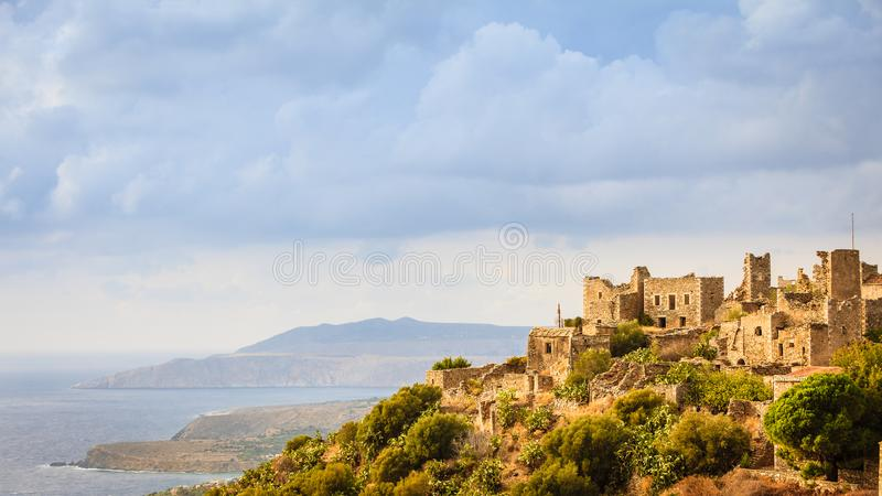 Tower houses in Vathia Greece Mani Peninsula. Greece Vatheia village. Old abandoned tower houses in Vathia Mani Peninsula, Laconia Peloponnese Europe royalty free stock photos