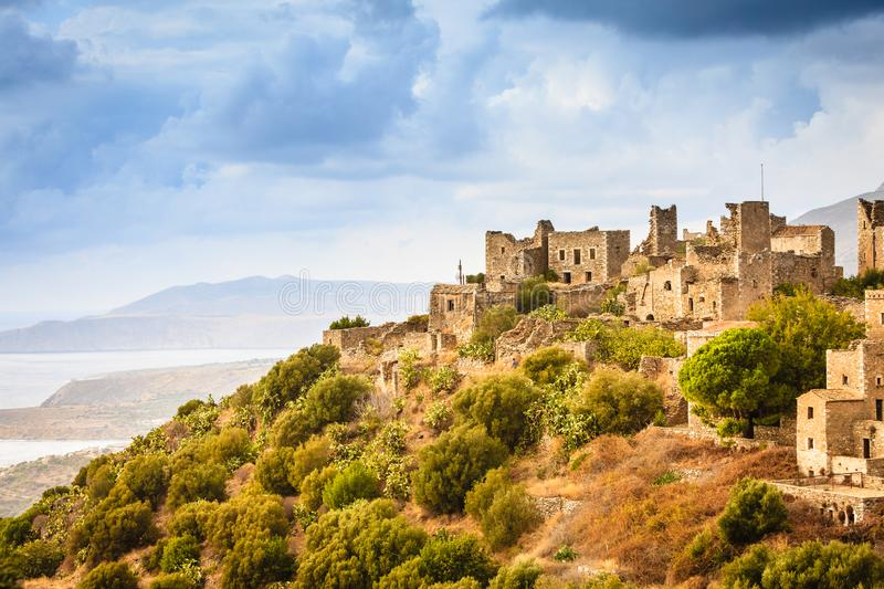 Tower houses in Vathia Greece Mani Peninsula. Greece Vatheia village. Old abandoned tower houses in Vathia Mani Peninsula, Laconia Peloponnese Europe stock images