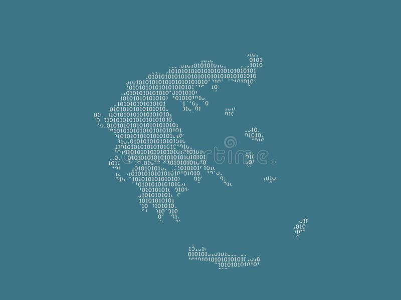 Greece vector map using white binary digits on dark background to mean digital country and the advancement of technology. Illustration stock illustration