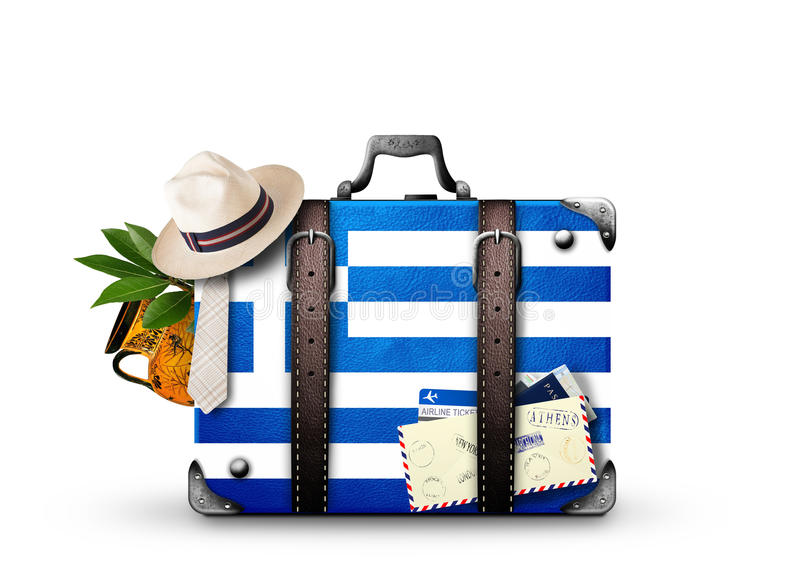 Greece. Vintage suitcase with  flag stock photos