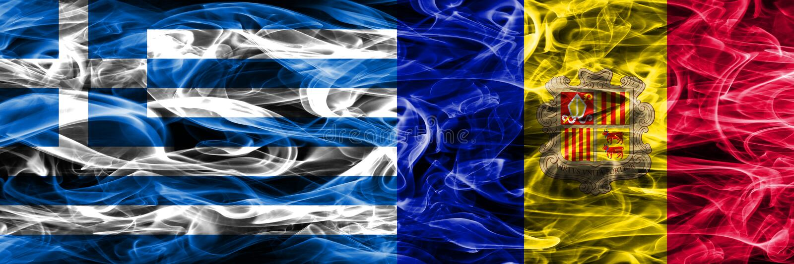 Greece vs Andorra smoke flags placed side by side. Thick colored. Silky smoke flags of Greek and Andorra royalty free illustration