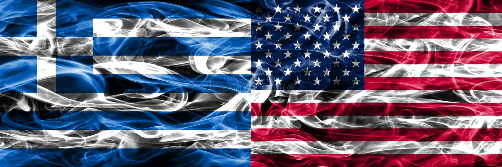 Greece vs United States of America smoke flags placed side by si. De. Thick colored silky smoke flags of Greek and United States of America stock images