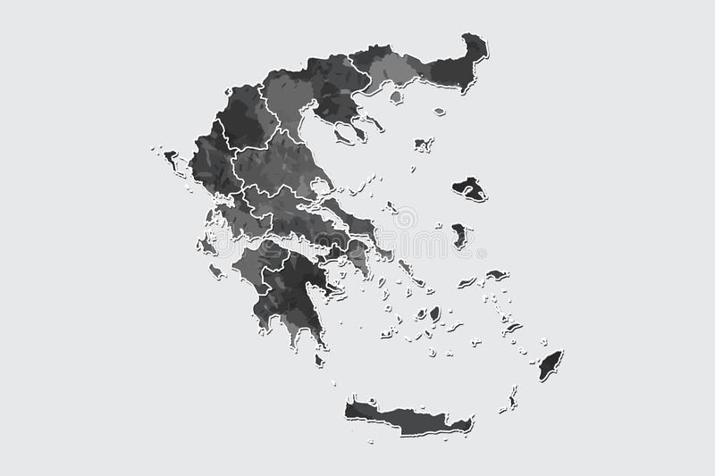 Greece watercolor map vector illustration of black color with border lines of different regions or provinces on light background. Using paint brush in page stock illustration